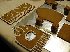 Gingerbread pieces iced