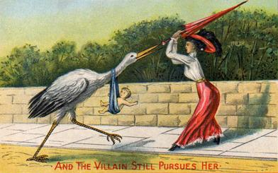 Victorian-postcard-flummoxed-woman-swats-away-stork-parasol-baby-delivery-villain-still-pursues-her-drawing-paiting-image