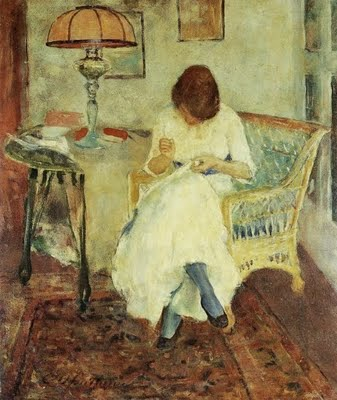1923 Charles Webster Hawthorne (American Painter, 1872-1930) Girl Sewing 1923