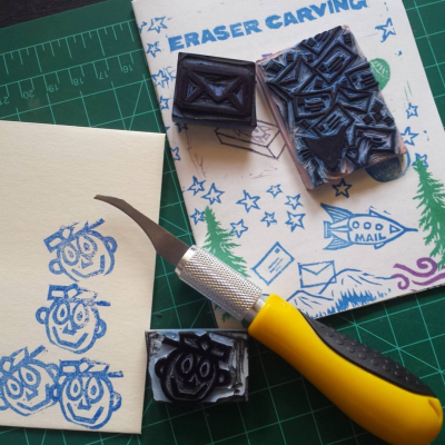 Carve-your-own-stamps-at-the-lwa-clubhouse-on-sunday-sign-up-at-wwwletterwritersorg-letterwritersalliance-showandmail-mailart_28077810826_o