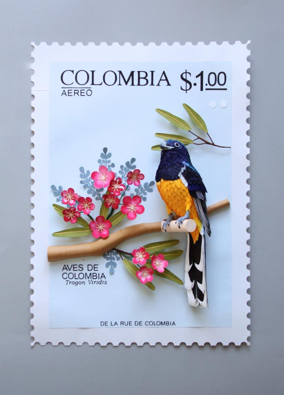Paper stamp bird