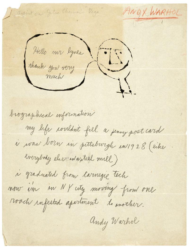 Warhol letter