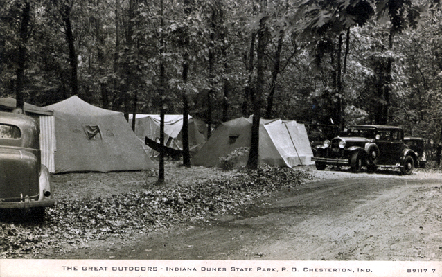 "Indiana Dunes State Park, ""Car Tent Camping,"" c. 1930 [ source ]"