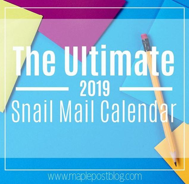 Snail mail calendar