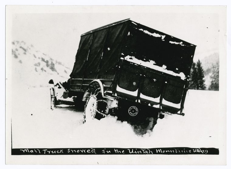 Mail truck in snow